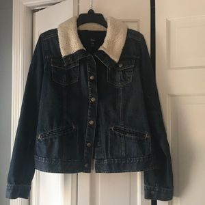Gap Jean jacket with white shearling collar.